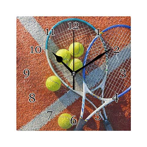 Orologio da parete con racchetta da tennis sportiva Orologio da parete quadrato silenzioso senza ticchettio per decorazioni scolastiche da ufficio a casa