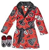 LEGO Star Wars Boys Robe with Slippers,Bathrobe Pajama Set,Red,Boys size 4/5