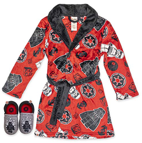 LEGO Star Wars Boys Robe with Slippers,Bathrobe Pajama Set,Red,Boys Size 10/12