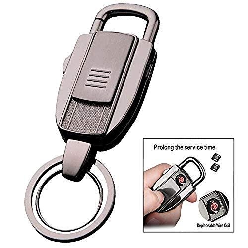 iwobi Elektronisches Feuerzeug Schlüsselanhänger, USB Feuerzeug Windfeste, Zigarettenanzünder mit Schlüsselanhänger