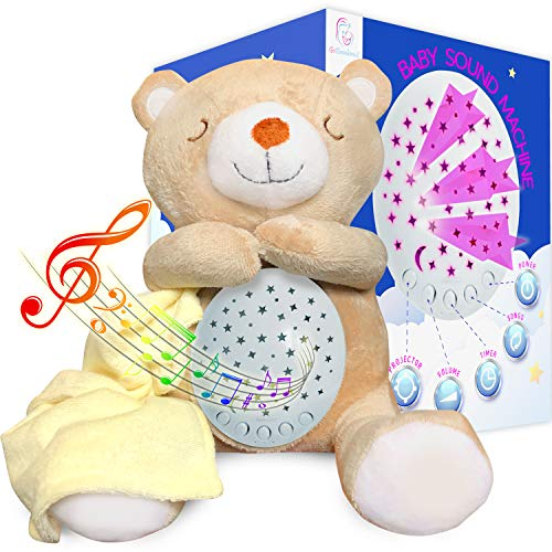 GOBAMBINOS Soothing Baby Sound Machine - Soft Teddy Bear, Adjustable Light, 15 Calming Sounds - Kids Music Box with Star Projector Night Light
