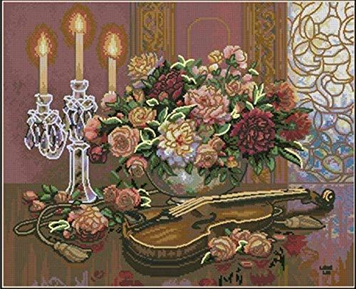 LEOGOR Juego de bordado de punto de cruz, jarrón a la luz de las velas de 11 quilates, preimpreso, para punto de cruz, hecho a mano, para principiantes, kit de punto de cruz, 40 x 50 cm