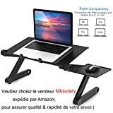 Mksutary Support Table de Lit Pliable Inclinable Lapdesk pour PC Ordinateur Portable...