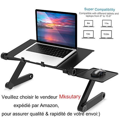 Mksutary Support Table de Lit Pliable Inclinable Lapdesk pour PC Ordinateur Portable - Noir