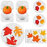8 Pieces Pumpkin Maple Leaves Fondant Mold Fall Thanksgiving Theme Silicone Mold Mini 3D Pumpkin...
