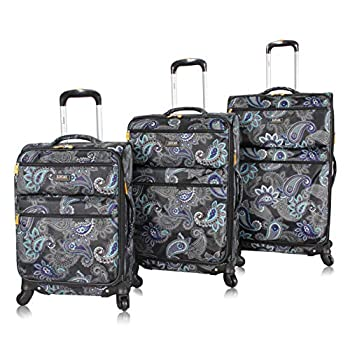 Lucas Designer Luggage Collection - 3 Piece Softside Expandable Ultra Lightweight Spinner Suitcase Set - Travel Set includes 20 Inch Carry On 24 Inch & 28 Inch Checked Suitcases  Diva