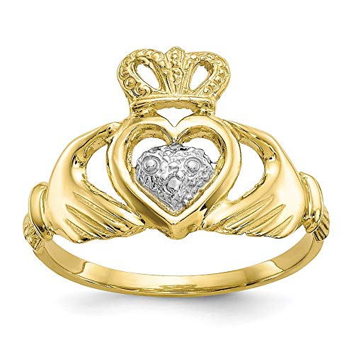 10k Yellow Gold Irish Claddagh Celtic Knot Band Ring Size 6.00 Fine Jewelry For Women Gifts For Her