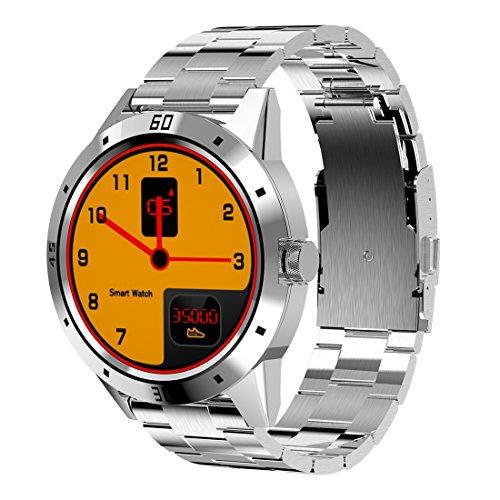 LIJDD Soporte Monitor de Ritmo cardíaco y podómetro y Monitor de sueño y recordatorio sedentario (Negro), Correa de Reloj de Acero Inoxidable, Reloj Brillante N6 Screen TFT MTK2502C Bluetooth4.0