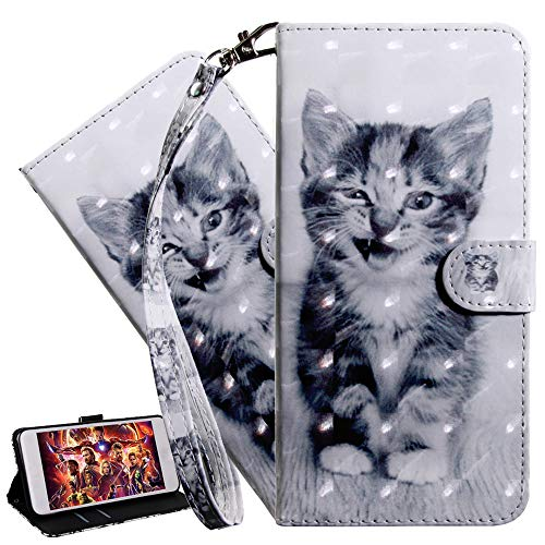 ISADENSER Mate 30 Lite Case Mate 30 Lite Wallet Case 3D Cute Animals PU Leather Flip Notebook Wallet Case Magnetic Stand Card Slot Folio Bumper Case for Huawei Mate 30 lite/Nova 5i 3D Art Cat BX