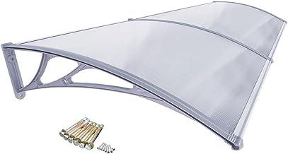 TRUTZHOLM /Überdachung Vordach 200 x 100 cm Schwarz Haust/ürdach Haust/ür Pultvordach Kunststoff Alu Leisten Wetterschutz Eingangsbereich
