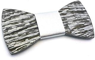 GIGETTO Papillon in legno Serie Basic Nodo ecopelle argento