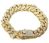 Halukakah Chaîne Homme en Or,Bracelet 14mm Chaîne Cubaine,Plaqué Or Réal 18 Carats,Iced Out avec Diamants,20cm,avec Coffret Cadeau Gratuit
