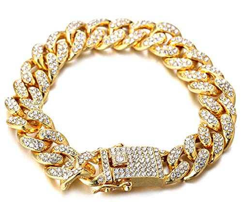 Halukakah Gold Chain for Men Iced Out,Men's 14MM Miami Cuban Link Chain Bracelet 8In(20cm) in 18kt Real Gold Plated,Full Cz Diamond Cut Prong Set,Gift for Him