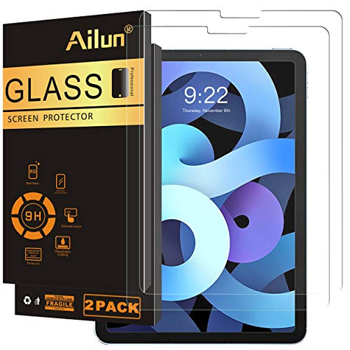 Ailun Screen Protector for New iPad Air 4th Generation[10.9 inch,2020 Release],iPad Pro 11 Inch Display [2020&2018 Release] [2Pack] Tempered Glass [Face ID&Apple Pencil Compatible] Ultra Sensitive Cas