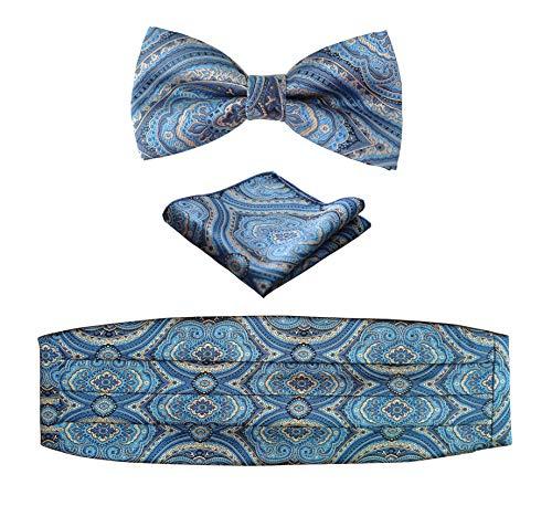 Simpowe Mens Matching Paisley Pocket Square Bow Tie and Cummerbund Set (One Size, Blue)