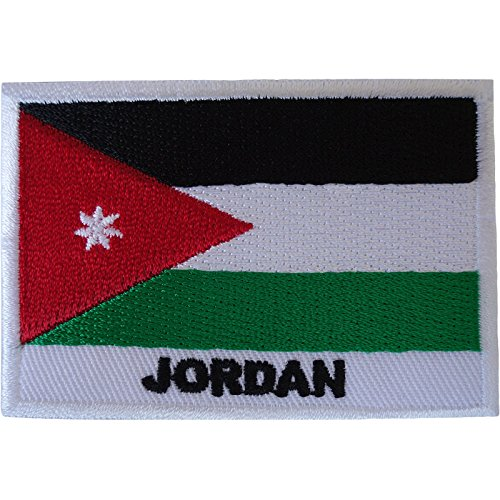 Parche bordado con la bandera de Jordán, para coser en árabe, arabe y Oriente Medio