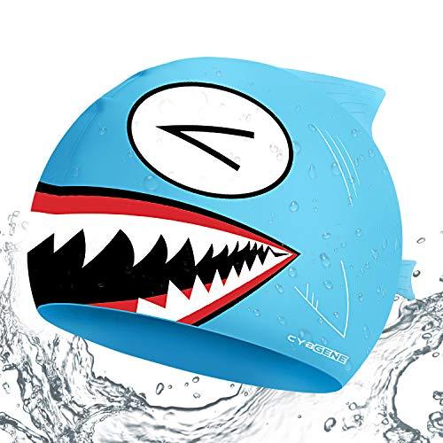 CybGene Hai Silikon Badekappe für Kinder unter 10 Jahren, Jungen, Mädchen, Badekappen für die Schwimmstunde - Blauer Hai