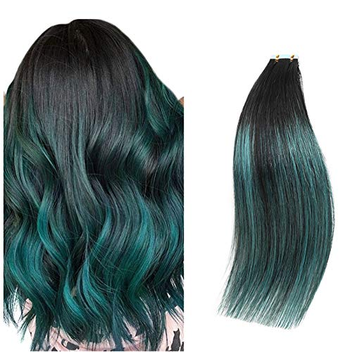 Rinboool Ombre Balayage Tape In Hair Extensions, Black Fading To Teal Green Highlighted Black,Remy Human Hair,14'' 40g 20Pcs/pack