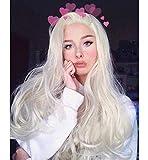 Vébonnie – Pelucas de malla frontal de cabello ondulado sintético para mujeres blancas, estilo realista, para cosplay, color rubio platinado, 61 cm de largo
