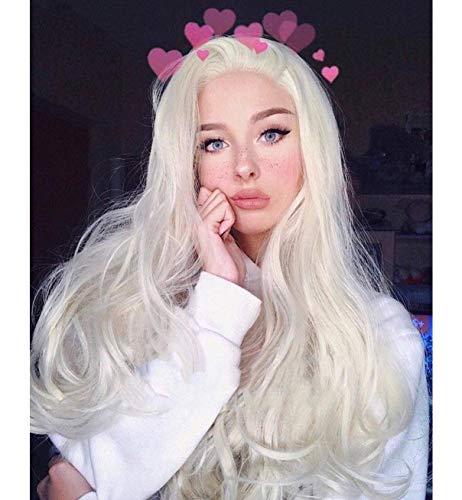VEBONNY Platinblonde Spitzenperücken für Frauen Weißblonde Cosplayperücken uk Silberblonde Haarperücke 22 Zoll VEBONNY-008