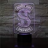 Insignias de luz nocturna LED 3D Logotipo de serpiente de Riverdale Serpientes de Southside Decoración Signo Cosas Accesorios de Riverdale Lámpara de mesa Color Regalo