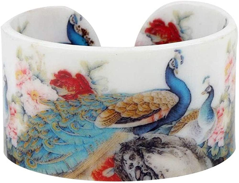 Acrylic Peacock Cuff Bangle [Double-Sided, White]