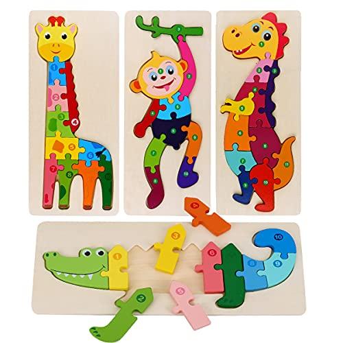 Holzpuzzle für Kinder, 3D Steckpuzzle Spielzeug ab 3 Jahren Montessori Spielzeug, 4 Stück Tiere Holzspielzeug Lernspielzeug Pädagogisches Geschenke, Weihnachten und Geburtstag