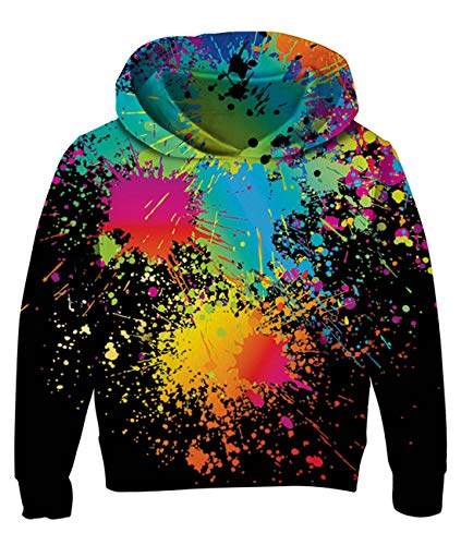 Cool Boys Girls Hoodies with 3D Watercolor Rainbow Print Hip Hop Style Novelty Sweatshirt for Kids Graphic Long Sleeve Crew Neck Hooded Pullover Black Active Athletic Sportswear Jumper for Kids 5-6t