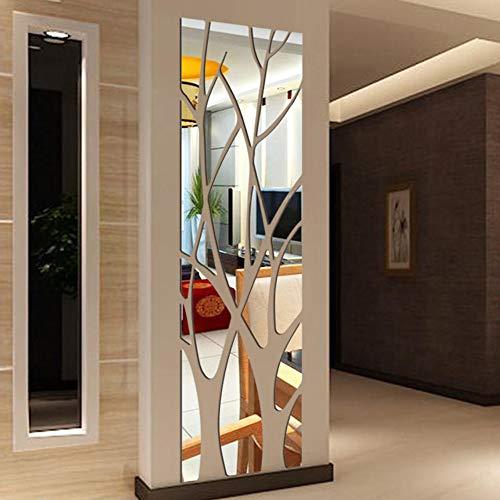 KOET Pegatinas de pared de espejo 3D, patrón de rama de árbol, autoadhesivas, extraíbles, de acrílico, para pared, decoración de pared, sala de estar, dormitorio, sofá, TV, fondo de pared
