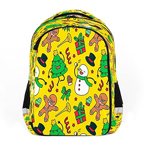 Mochila para niños unisex de dibujos animados para estudiantes escolares impermeable Preppy Pack bolsa colorido Navidad elemento-dibujos animados divertido muñeco de nieve