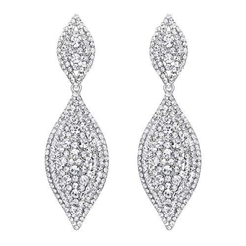 EVER FAITH Damen Ohrringe Österreichische Kristall Hochzeit Braut Charm 2 Blatt Drop Baumeln Ohrstecker Klar Silber-Ton