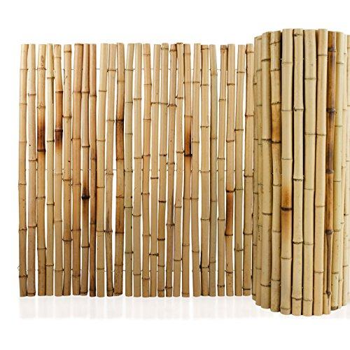 Floordirekt Bambus-Sichtschutzzaun   Vollrohr   Sichtschutz für Balkon, Terrasse oder Garten   Robust und witterungsbeständig   3 Größen (150 x 250 cm, Natur)