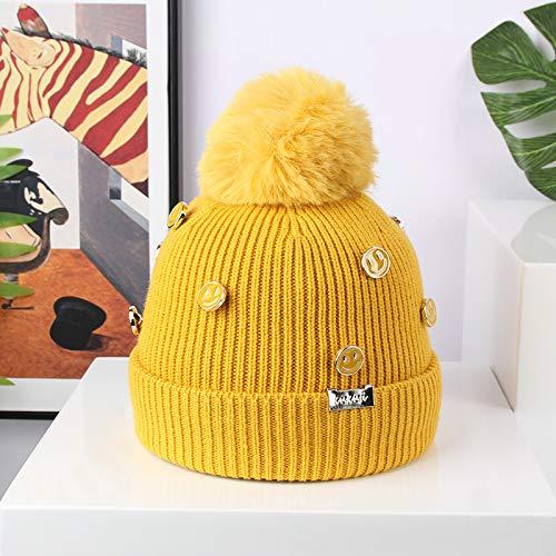Fashion items Plus velvet warm tide hat Korean version of hand-stitched smiley face button woolen hat children's hat autumn and winter