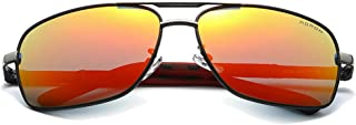 Fashion Red/Silver Men's Driving Sunglasses Color Film Polarized New Metal Material Sunglasses Retro (Color : Red)