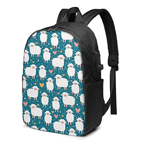 XCNGG Cute Sheep Heart Star Travel Laptop Mochila College School Bag Mochila Informal con Puerto de