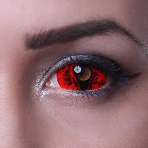 MATLENS – Eye love Autumn Viper Sclera Kontaktlinsen Crazy Fun Motiv Halloween red rot 2 Linsen 1 Kontaktlinsenbehälter 1 Pflegemittel 50ml