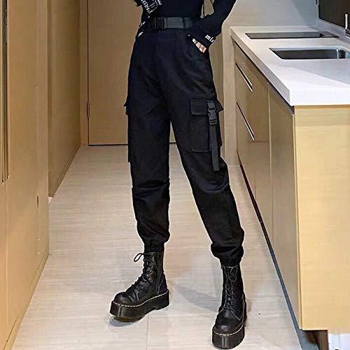 Dongwall Pantalones Deportivos Pantalones Harajuku Punk, Monos Casuales para Mujer, Pantalones De Talla Grande De Cintura Alta para Mujer, Pantalones Coreanos para Correr, CinturóN Gratis M Negro