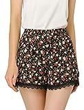 Allegra K Women's Shorts Allover Floral Printed Lace Trim Hem Elastic Waist L Black-Rose
