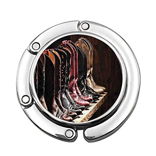 Colección de Botas de Cuero de Vaquera de Rodeo Elegante de Varios Tipos Occidentales en la Imagen de tablón de Madera Bolso Personalizado marrón