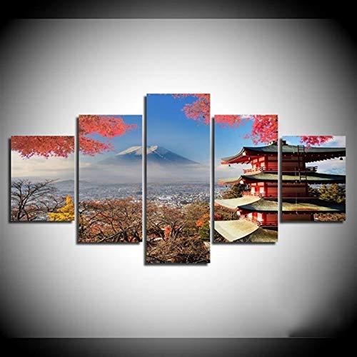 LIZHIOO Lienzo Mural Picture Lámina, Otoño Fuji Templo Japonés Restaurante Cocina Decoración De La Pared Obras De Pintura (sin Marco) (Size : 20x30 20x40 20x50cm)