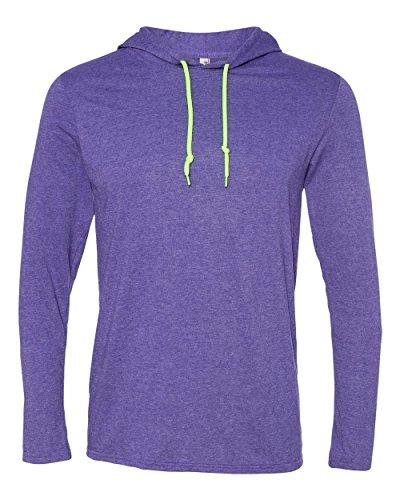 Anvil Lightweight Long-Sleeve Hooded T-Shirt (987AN) Heather Purple/Neon Yellow, L