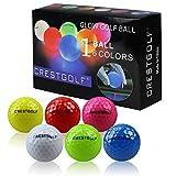 Crestgolf Pelotas de Golf con Brillo LED para la Noche Pelotas de Golf con 4 Luces LED integradas Muy Brillantes Golf de Larga Distancia-6 Piezas Nuevo