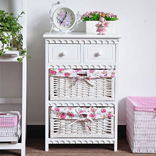 Keinode - Mesita de noche con 2 cajones de mimbre, mueble de cajones para sala de estar, dormitorio, cuarto de baño, pasillo (rosa)