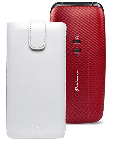 Original Favory Etui Tasche für / DORO Primo 401 / Leder Handytasche Ledertasche Schutzhülle Hülle Hülle *Speziell - Lasche mit Rückzugfunktion* in weiss