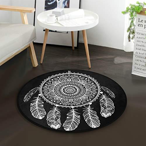 Mnsruu Tapis rond pour salon, chambre à coucher, motif attrape-rêves aztèque, tribal, ethnique, noir - Diamètre : 92 cm