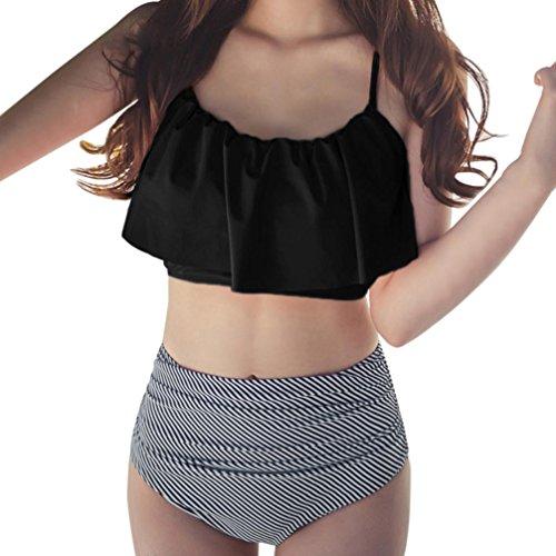 BH Badeanzug Damen Bademode Bikini Set Brasilianische Push-up Bikinioberteil Swimsuit Vintage Bademode Streifen Blumen Shorts Oberteil Beachwear Support Badenanzug Swimsuit Schwimmanzug (Schwarz, S)