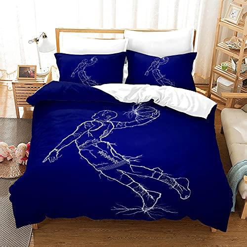 Bedclothes-Blanket Juego de sabanas Infantiles Cama 90,Caso 3D Impresión Digital Acción de Baloncesto Ropa de Cama de Tres Piezas-5_200 * 200