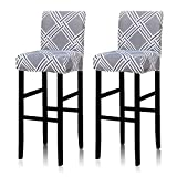 Deisy Dee Stretch Slipcovers Chair Cover for Counter Height Side Chairs Covers Stretch Protectors Pack of 2 C172 (H)