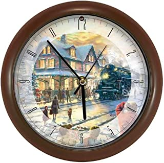 Mark Feldstein Wall Clock AA Alkaline Eight Inch Thomas Kinkade All Aboard For Christmas With Brown Frame