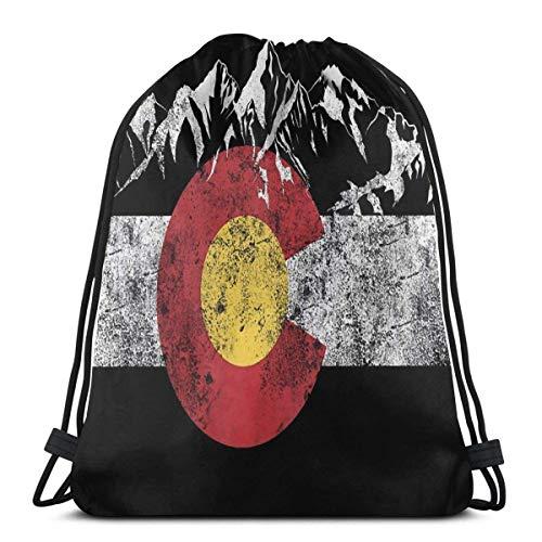 OPLKJ Vintage Mountain Colorado Flag Gym Bag Incassable Drawstring Bag Sacs de rangement haut de gamme Sacs de sport légers Sacs de voyage étanches Sac de voyage réglable Sacs à cordes à tirer durabl